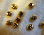 Beads, Letters,Terra Cast, 22K Gold Plated, Pewter, Alphabet Beads, 6.8x6mm, Any Six, For 3.69