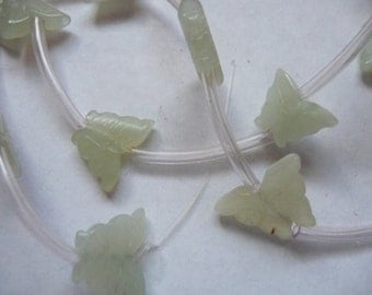 SALE!! Bead, Sea Green, New Jade, Natural, Gemstone, Carved Butterfly, C Grade, Pkg Of 6 SALE!!