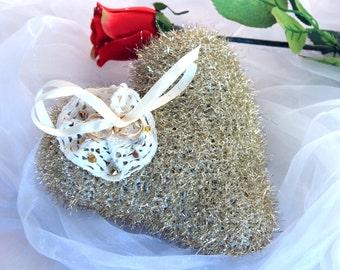 Crochet Golden Heart Pillow, Wedding Golden Heart Pillow, Heart Pillow for Rings, Heart-shaped Ring Bearer, Crochet Wedding Heart,