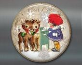 vintage christmas fridge magnet, little girl magnet, reindeer christmas decoration, kitchen decor, large magnet MA-1337