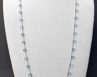 Faceted Flat Aquamarine Teardrop Briolette Necklace- NK 144