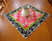 Quilted Table Topper, Pink Tabletop, Handmade Tabletop, Home Decor, Pieced Table Topper, Table Quilt, Patchwork Table Topper, SALE