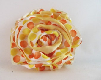 Ribbon Rose Pin-Hair Clip-Brooch-Satin-Yellow-Polka Dot-Orange