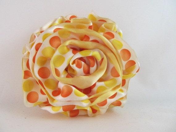 Ribbon Rose Pin-Hair Clip-Brooch-Satin-Yellow-Polka Dot-Orange