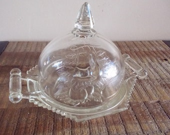 Vintage Jeanette Baltimore Glass Pear Domed Lid Butter Cheese Dish