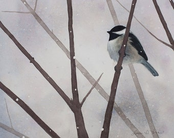 Chickadee Watercolor Painting - Fine Art Archival Print - Limited Edition Bird Art by Laura D. Poss