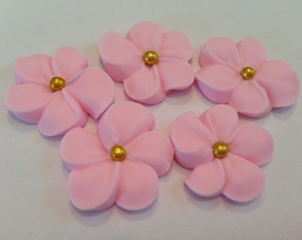 LOT of 100 Pink  Royal Icing Flowers w/ gold sugar balls for Cake Decorating