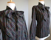 Black Stripe Blouse Bow Neck Vintage Tie Rainbow Large