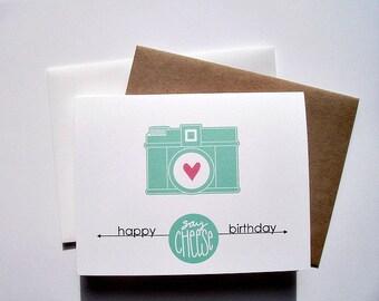 Birthday Card - Vintage Camera Birthday Greeting, Say Cheese Happy Birthday, Bright Teal White Red Vintage Camera, Retro Birthday Card