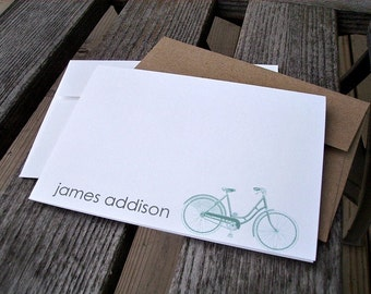 Personalized Note Cards - Vintage Bicycles, Bike Stationery, Bike Thank You Notes, Personalized Stationery, Teal Blue Grey Red Chartreuse