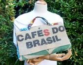 HALF PRICE Upcycled Brazilian Coffee Sack and African Cotton Handbag