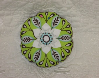 Flower Pincushion - Large Over-Stuffed Round Pincushion - Lime Green and Chocolate Fabric.