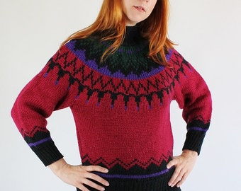 SALE - Vintage 80s Red Green Black and Purple Chunky Ski Lodge Sweater