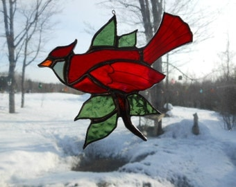 cardinal leaves and leaves, stained glass suncatcher
