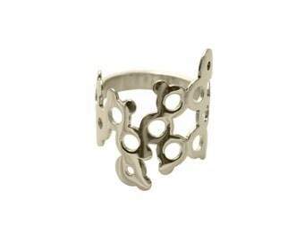 Adrenaline Molecule Silver Ring