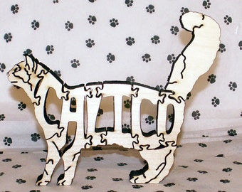 Calico Cat Handmade Fretwork Wood Puzzle