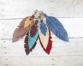 Mystery Feather, Surprise Gift, Leather Feather, Feather Keychain, Feather Bag Charm, Bag Tassel, Recycled Leather