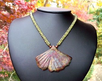 Autumn Colors Necklace Raku Ginko Leaf beadweaving