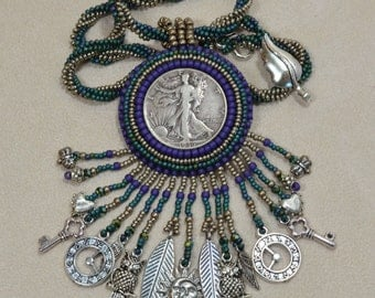 Teal and Purple Steampunk Necklace Silver Coin Walking Liberty