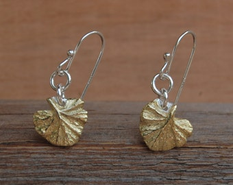 tiny gold leaves, ginkgo earrings, gold ginkgo, ready to ship, geranium leaves, mixed metal, gardener gift, bridesmaid earring, gift for her