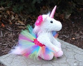 White Rainbow Unicorn Plush with Removable Tutu and Daisy Hair Clip