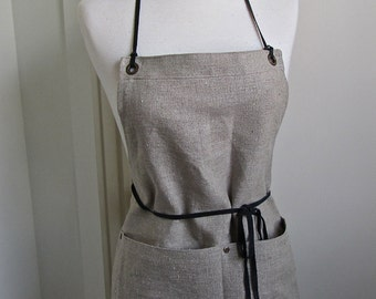 Full  Apron Woman   Short Full Apron European Linen Rustic Apron Work Apron Leather Straps