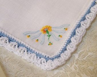 Blue Handkerchief, Hanky, Hankie, Something Blue, Hand Crochet, Embroidered, Ladies, Lace, Yellow, Monogrammed, Personalized, Ready to ship