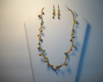 Handpainted Glass Pearl andMulti Color Crystal Necklace and Earring Set by Chubbychick