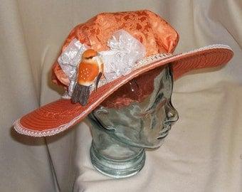 Orange Edwardian Picture Hat- Downton Abbey, Titanic, Ascot, Kentucky Derby Style
