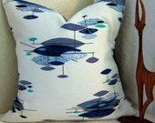 Mid Century Modern Pillow Cover -- Vintage Barkcloth - Jetsons Blues,Turquoise, Plum - Many Sizes Available