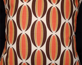 "Chris Stone Fabric Modern Pillow Cover - 17"" x 17"" for 18"" insert - Orange, Brown, Off-White - Spice Loops Fabric"