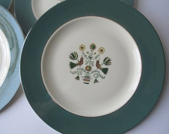 Vintage Homer Laughlin Persian Garden Dinner Plates Set of Four