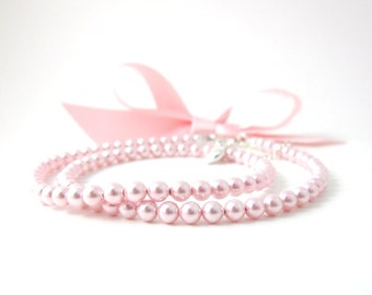 Pink Pearl Necklace Children's Petite Pearls Sterling Silver