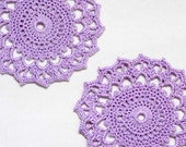 Lavender Lace Crochet Coaster Doily Set, Radiant Orchid Decor, Wood Violet, Purple