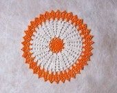 Orange Decor Crochet Lace Table Doily, Modern Home Decoration, New