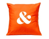 Typographic Throw Pillow - Ampersand in ORANGE - Decorative Cushion - Handmade Pillow Cover in Swedish Design - Scandinavian Style Homewares