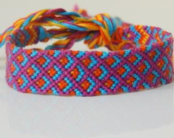 FB000 Bright Purple Double Diamond Friendship Bracelet