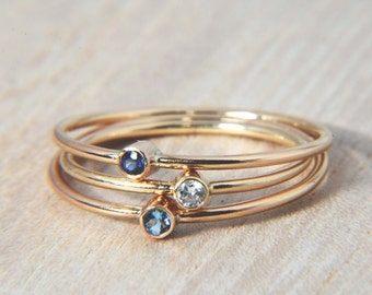 Shades of Blue in 14K Gold - Diamond, Sapphire, and Aquamarine Stacking Rings, Delicate Gold Rings, Thin Gold Stacking Rings, Petite Rings