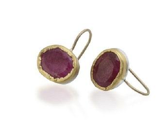 18k Yellow Gold Ruby Hook Earrings, Ruby Jewelry, July Birthstone Earrings, Ruby Birthstone Earrings, Gemstone Earrings, Solid Gold Earrings