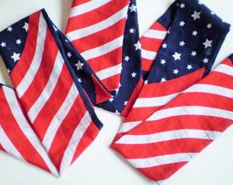 USA Flag Skinny Bandana Scarf, Patriotic Scarf, Red White Blue Scarf, Bandana Scarf, Bandana Head Scarf, Bandana Head Wrap