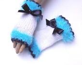 Handknit Turquoise White Gloves, Mitten, Fingerless, Winter Accessories, Halffinger Gloves