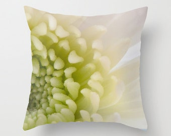 Photo Cushion Case, Floral Chrysanthemum Throw Pillow Cover, Ivory Bedroom Accent, French Cottage Chic Living Room, Ivory Botanical Art