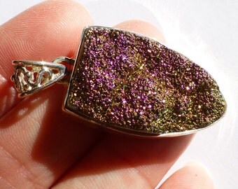 Mystic Purple Magenta Titanium Druzy Pendant Shield Amazing Deep Color Change Magical Slide Bead Sterling Silver Ready To String or Beadwork