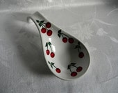 Spoon rest, large spoon rest, painted spoon rest, hand painted spoon rest, cherries, hand painted cherries, red cherries