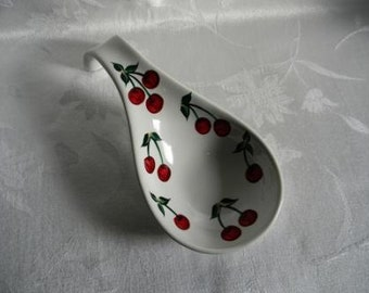 Spoon rest-Hand painted Spoon rest-painted red Cherries