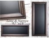 """LONG & NARROW CHALKBOARD Wood Patina Black Long Narrow Rectangle Kitchen Magnetic Chalkboard 41""""x18"""" Blackboard Chalk board Menu Board"""