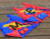 TWO Personalized SUPERHERO CAPES Set - Super Sibling Capes - Big Brother Little Brother Gift Set - 2 Capes + 2 masks + 2 sets power gloves