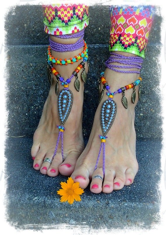 Tribal Indie BAREFOOT Sandals Ankle wrap sandal LEAF Toe Thongs crochet Gypsy Sandals Wanderlust PURPLE Barefoot Wedding bare feet GPyoga