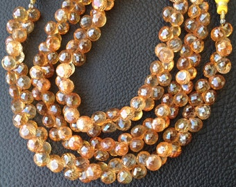 8 Inch,New Stock,Very-Very,Finest  Mystic CITRINE Quartz Faceted Onions Shape Briolettes, AAA Quality,Best Cut, 7-7.50mm Size,Great Item