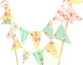 Shabby Chic Cake Banner Topper, Floral Cake Bunting Fabric Pennant Flags, Girl Birthday Party, Baby Shower Banner Cake Smash Cake Photo Prop